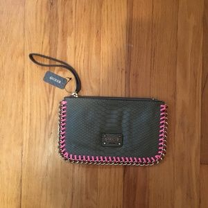 NWT Guess Brown & Pink Wristlet
